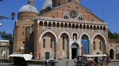 Padua - The front-side of the Sant'Antonio basilica Stock Footage