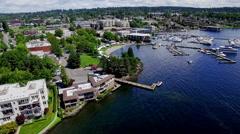 Kirkland Washington Marina Waterfront Aerial Stock Footage