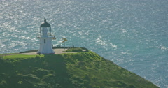 View to Cape Reinga Lighthouse, New Zealand Stock Footage