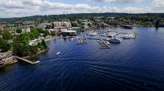 Kirkland Washington Waterfront Aerial Pan Stock Footage