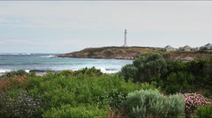 Cape leeuwin lighthouse and coastal wildflowers Stock Footage