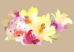 Lilies greeting card. Bouquet of flowers. Stock Illustration