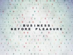 Finance concept: Business Before pleasure on Digital Data Paper background Stock Illustration