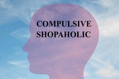 Compulsive Shopaholic mental concept Stock Illustration