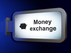 Currency concept: Money Exchange and Money Box on billboard background - stock illustration