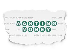 Currency concept: Wasting Money on Torn Paper background - stock illustration