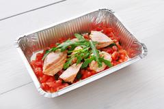 Healthy food in boxes, diet concept Stock Photos