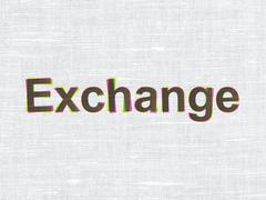 Banking concept: Exchange on fabric texture background - stock illustration