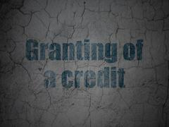 Currency concept: Granting of A credit on grunge wall background Piirros