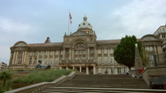 Birmingham, England - Victoria Square. Pan from Council House to Town Hall Stock Footage