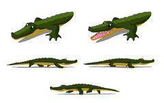 Crocodile Isolated on White Background Stock Illustration