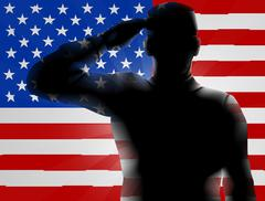 Veterans Day Silhouette Soldier Saluting Piirros