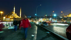View of the traffic at night on the Galata Bridge - stock footage