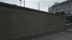 Birmingham, England - Victoria Square. Pan along wall with the square's name Stock Footage