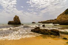 beautiful beach on the Atlantic Ocean, Algarve, Portugal - stock photo