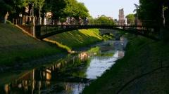 Padua - Iron bridge, accelerate motion Stock Footage