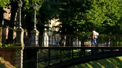 Padua - iron bridge Stock Footage