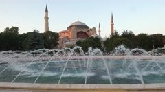 Fountain  in Sultan Ahmet Park with Hagia Sophia in the background at Istanbul Stock Footage