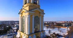Amazing aerial ascending view of Venerable bell tower built in 1813-1819. Stock Footage