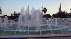 Blue Mosque Sultanahmet Camii over fountain at evening time, Istanbul Stock Footage