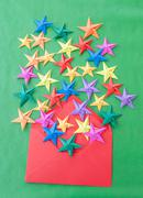 Colorful origami stars Stock Photos