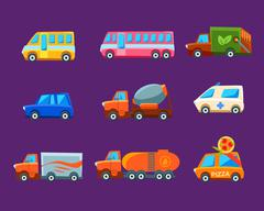 Toy Cars Colorful Different Service Set Stock Illustration