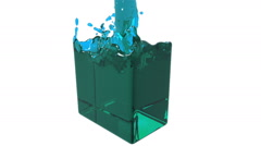 Blue fluid fills up a container slowly Stock Footage