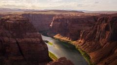MoCo Pan Time Lapse of Panoramic View of Horseshoe Bend in Arizona -Long Shot- Stock Footage