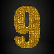 Gold sequins sings. Sequins alphabet. Eps 10. - stock illustration
