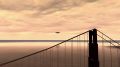 UFO Flies Past the Golden Gate Bridge Stock Footage