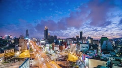 the light trails on the roundabout in Kaohsiung, Taiwan - stock footage