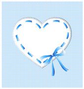 blue heart with sewing - stock illustration