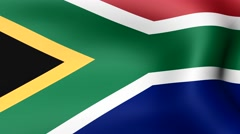 Flag of South Africa, fluttering in the wind. 3D rendering. Looping video. Stock Footage