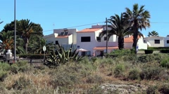 Typical Portuguese villa on cliff tops overlooking the Atlantic coast. Stock Footage