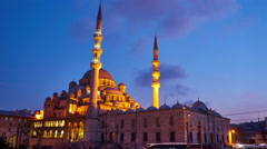 View of Yeni Cami at night Stock Footage