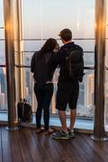 People at the observation deck of Burj al Khalifa - stock photo