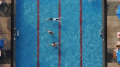 Beautiful Fresh Swimming Pool with Swimmers - stock footage