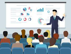 Business seminar speaker doing presentation and professional training Stock Illustration
