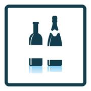 Wine and champagne bottles icon Stock Illustration