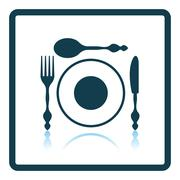 Silverware and plate icon Stock Illustration