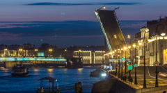 Span of the Liteyny Bridge is lifted over the river Neva timelapse Stock Footage