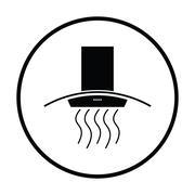 Kitchen hood icon - stock illustration