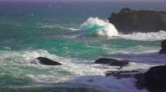 Seascape waves crushing on rocky ocean sea shore slow motion. Stock Footage