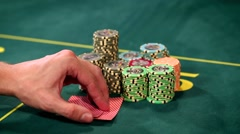 Poker Player Showing Good Card Combination, One Pair of Aces Stock Footage
