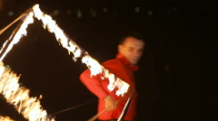 Fire show in the night - stock footage