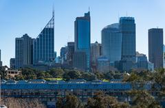 Sydney skyline and Fingers wharf on sunny day Kuvituskuvat