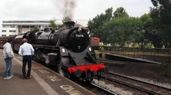 Steam trains at the Keighley and Worth valley Railway vintage weekend, Howarth - stock footage