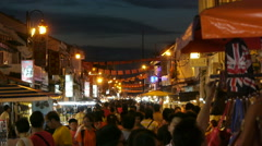 crowds multi cultural shoppers in Night Market - Malaysia - stock footage