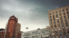 Drone flying among buildings Stock Footage