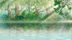 Rays of sunshine on river inside green illustration forest Stock Footage